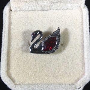 Swarovski crystal red swan lapel pin brooch